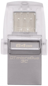 Накопитель USB 3.1 + Type-C Kingston DT Micro 64Gb Metal Silver (DTDUO3C/64Gb)
